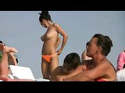 Topless Romanian girl filmed at Romanian beach