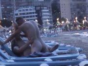 Horny amateur couple caught fucking on a Spanish beach