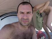 Nudist couple self filming at Bulgarian beach